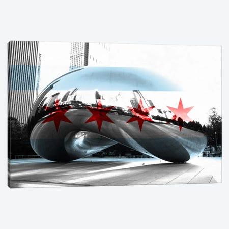Chicago City Flag (Cloud Gate aka The Bean) Canvas Print #FLG34} by iCanvas Canvas Art