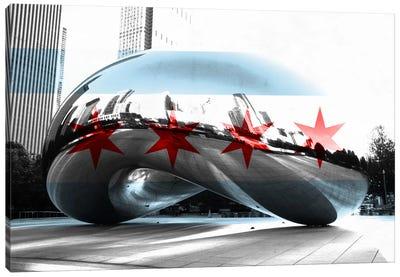 Chicago City Flag (Cloud Gate aka The Bean) Canvas Art Print