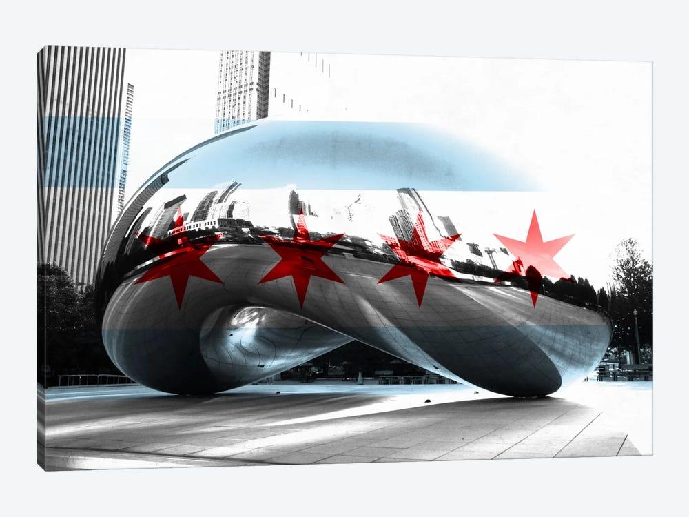 Chicago City Flag (Cloud Gate aka The Bean) by iCanvas 1-piece Canvas Print