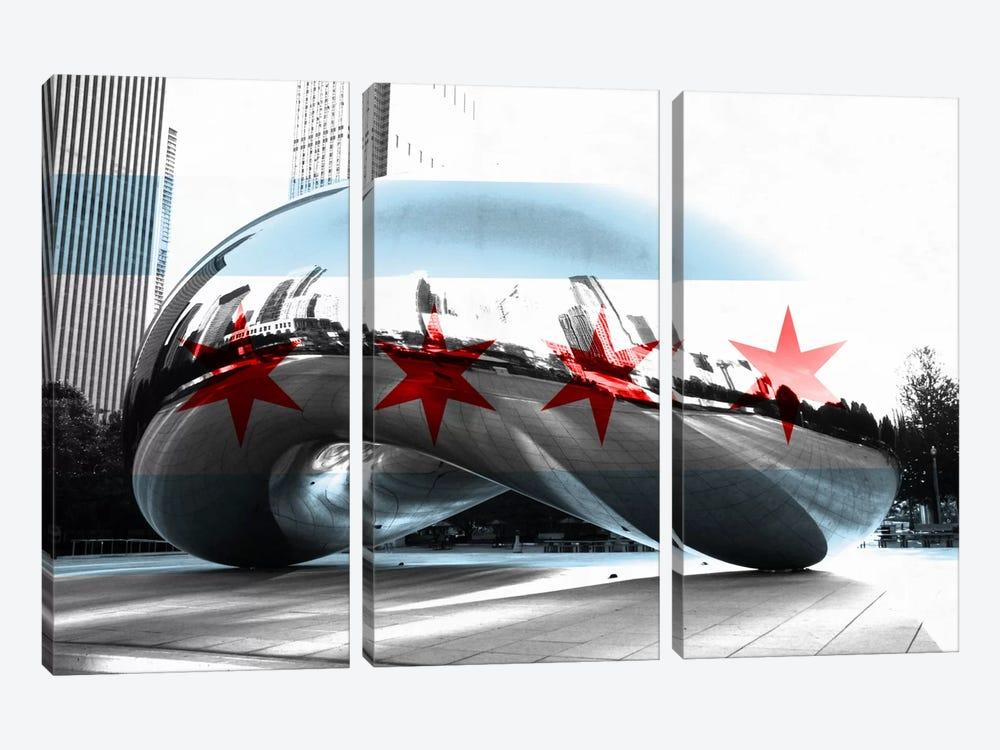 Chicago City Flag (Cloud Gate aka The Bean) by iCanvas 3-piece Art Print