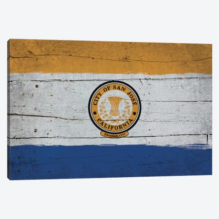 San Jose, California Fresh Paint City Flag on Wood Planks Canvas Print #FLG358} by iCanvas Canvas Wall Art