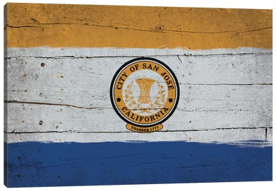 San Jose, California Fresh Paint City Flag on Wood Planks Canvas Art Print