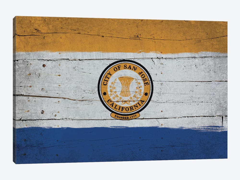 San Jose, California Fresh Paint City Flag on Wood Planks 1-piece Art Print
