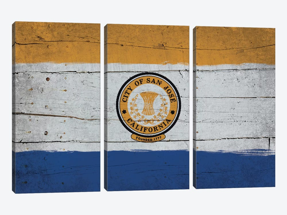 San Jose, California Fresh Paint City Flag on Wood Planks by iCanvas 3-piece Canvas Print