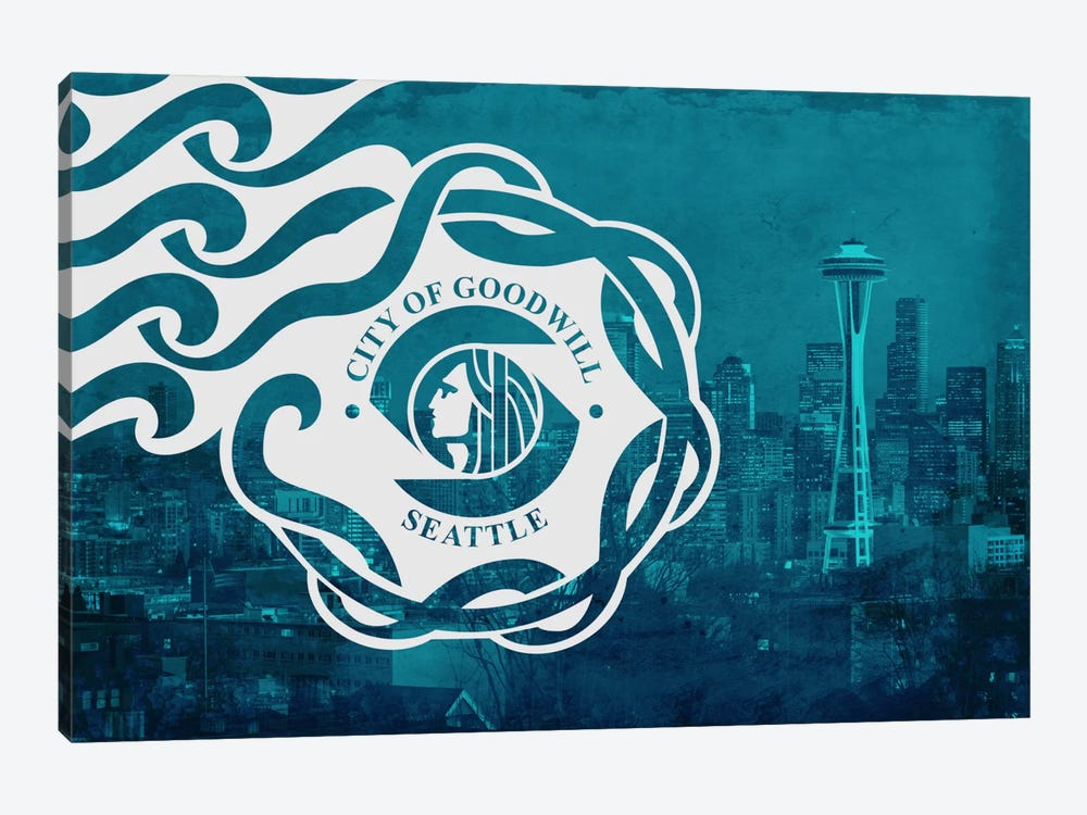 City Flag Overlay Series: Seattle, Washington by iCanvas 1-piece Art Print