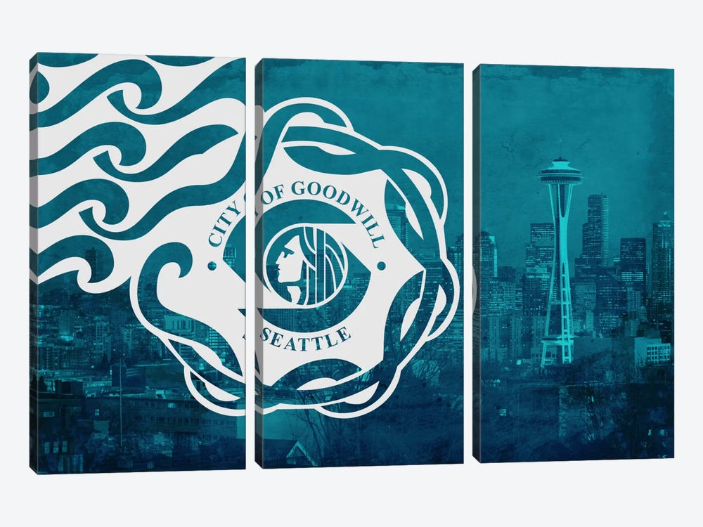 City Flag Overlay Series: Seattle, Washington by iCanvas 3-piece Canvas Print