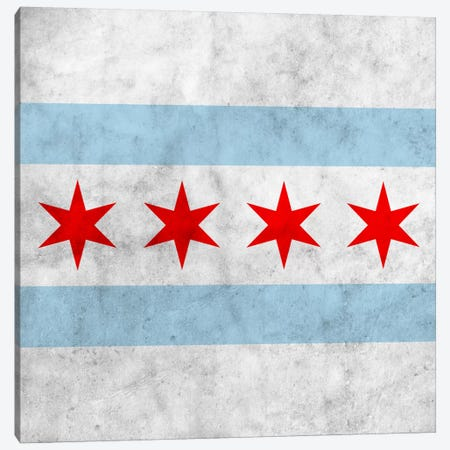 Chicago City Flag (Square Grunge) Canvas Print #FLG36} by iCanvas Canvas Wall Art