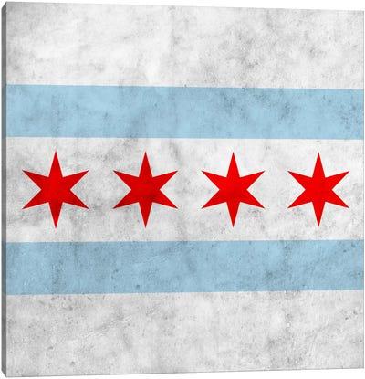 Chicago City Flag (Square Grunge) Canvas Print #FLG36
