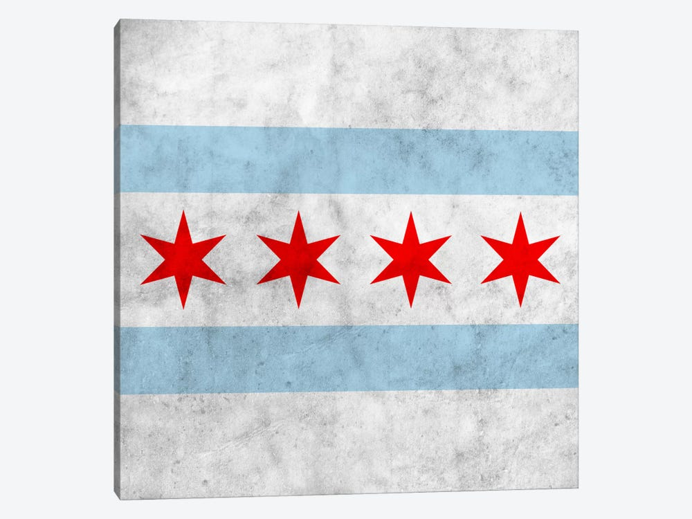 Chicago City Flag (Square Grunge) by iCanvas 1-piece Canvas Art Print