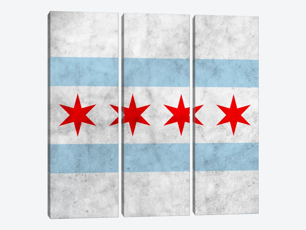 Chicago City Flag (Square Grunge) by iCanvas 3-piece Canvas Print