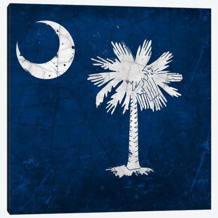South Carolina Cracked Paint State Flag Canvas Print #FLG371} by iCanvas Canvas Artwork