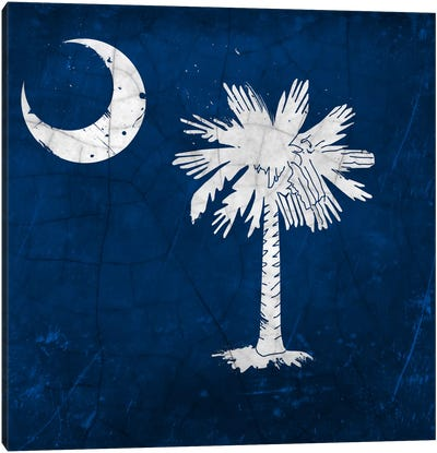 South Carolina Cracked Paint State Flag Canvas Print #FLG371