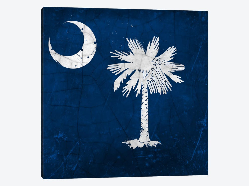 South Carolina Cracked Paint State Flag by iCanvas 1-piece Canvas Artwork