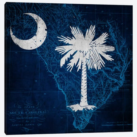South Carolina (Vintage Map) Canvas Print #FLG373} by iCanvas Canvas Artwork