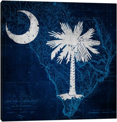 State Flag Overlay Series: South Carolina (Vintage Map) Canvas Art Print