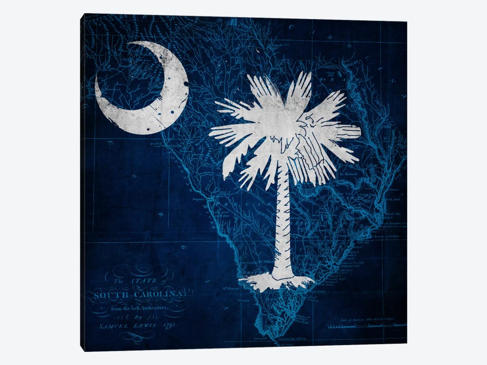 State Flag Overlay Series: South Carolina (Vintage Map) by iCanvas 1-piece Canvas Artwork