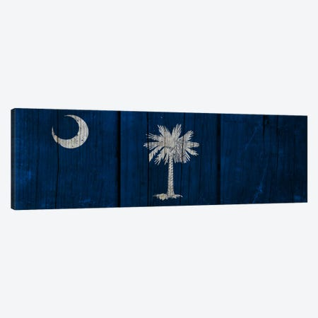South Carolina FlagWood Planks Panoramic Canvas Print #FLG377} by iCanvas Art Print