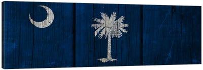 South Carolina Flag on Wood Planks Canvas Art Print