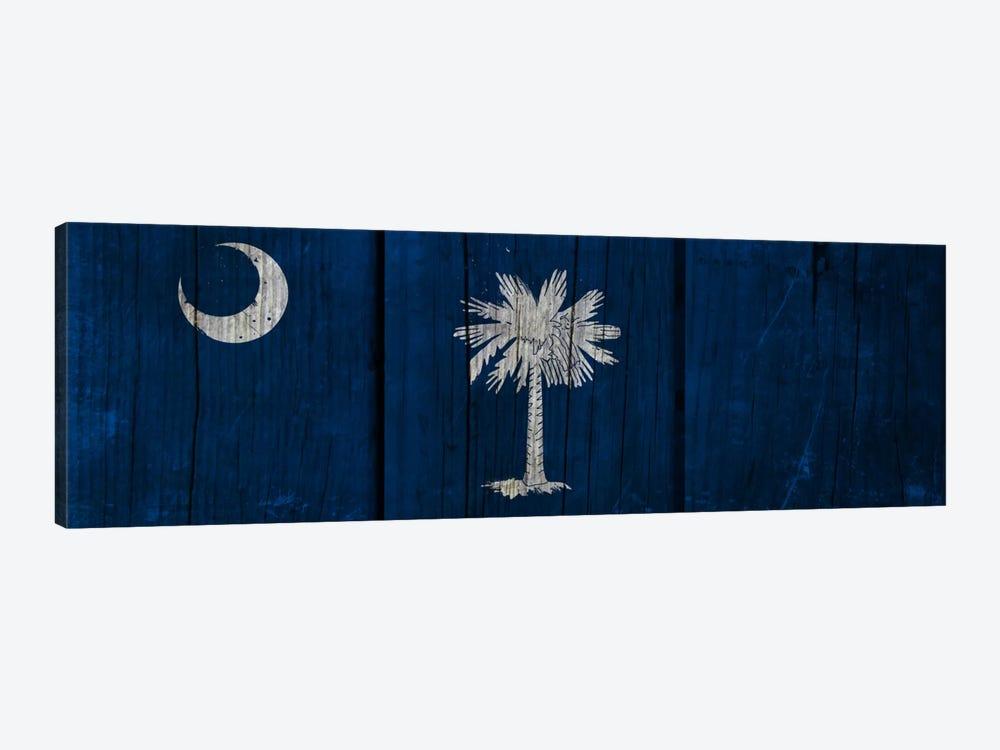 South Carolina Flag on Wood Planks by iCanvas 1-piece Canvas Artwork