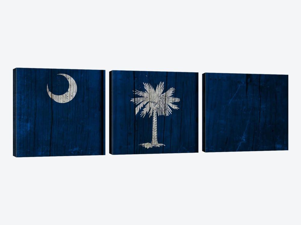 South Carolina Flag on Wood Planks by iCanvas 3-piece Canvas Wall Art