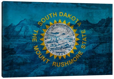 State Flag Overlay Series: South Dakota (Badlands National Park) Canvas Print #FLG379