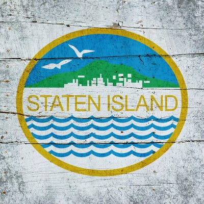 3 Piece Painting On Canvas Wall Art Nyc Street Lights New: Staten Island, New York City Flag On Wood Planks Can