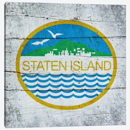 Staten Island, New York City Flag on Wood Planks Canvas Print #FLG392} by iCanvas Canvas Art
