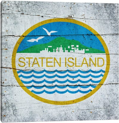 Staten Island, New York City Flag on Wood Planks Canvas Print #FLG392
