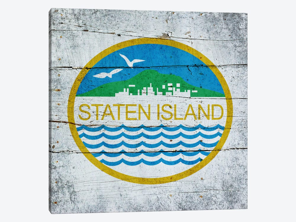 Staten Island, New York City Flag on Wood Planks by iCanvas 1-piece Art Print