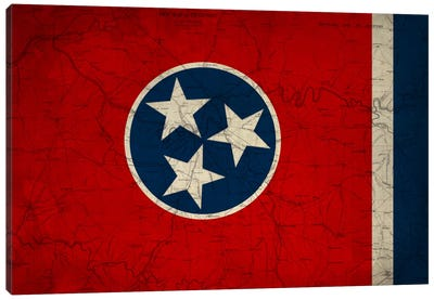 State Flag Overlay Series: Tennessee (Vintage Map) Canvas Print #FLG397
