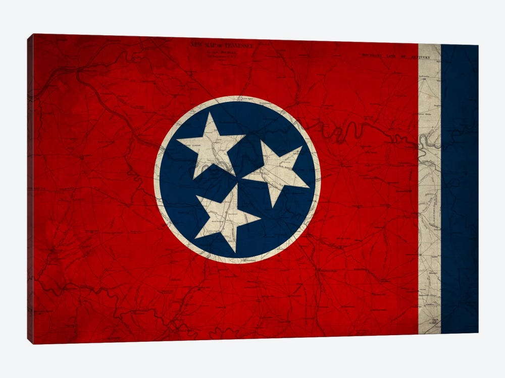 State Flag Overlay Series: Tennessee (Vintage Map) by iCanvas 1-piece Canvas Artwork