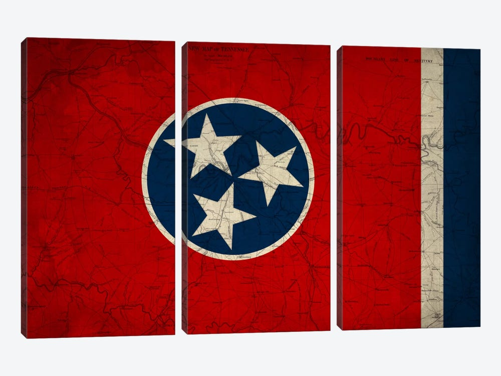 State Flag Overlay Series: Tennessee (Vintage Map) by iCanvas 3-piece Canvas Artwork