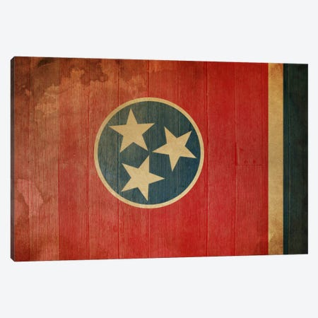Tennessee State Flag on Wood Planks I Canvas Print #FLG398} by iCanvas Canvas Wall Art