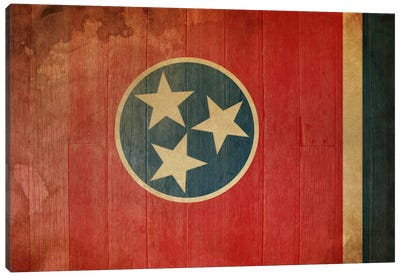 Tennessee State Flag on Wood Planks I Canvas Art Print