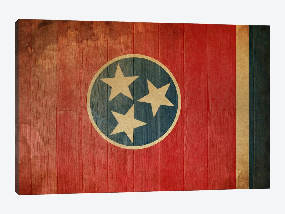Tennessee State Flag on Wood Planks I by iCanvas 1-piece Canvas Art Print