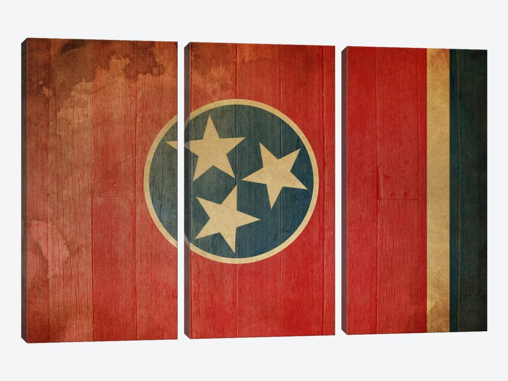Tennessee State Flag on Wood Planks I by iCanvas 3-piece Canvas Print