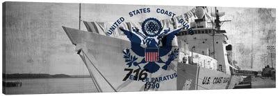 U.S. Coast Guard Flag (USCGC Dallas Background) I Canvas Art Print