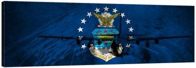 U.S. Air Force Flag (AC-130U Gunship Background) Canvas Art Print