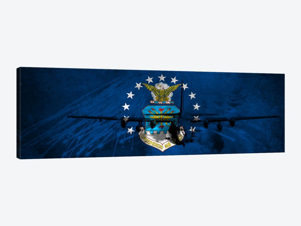 U.S. Air Force Flag (AC-130U Gunship Background) by iCanvas 1-piece Art Print