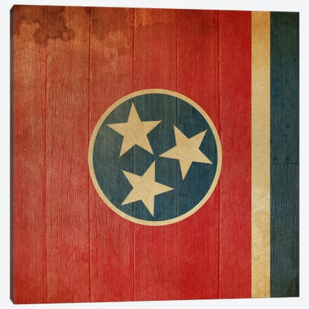 Tennessee State Flag on Wood Planks II Canvas Print #FLG400} by iCanvas Canvas Wall Art