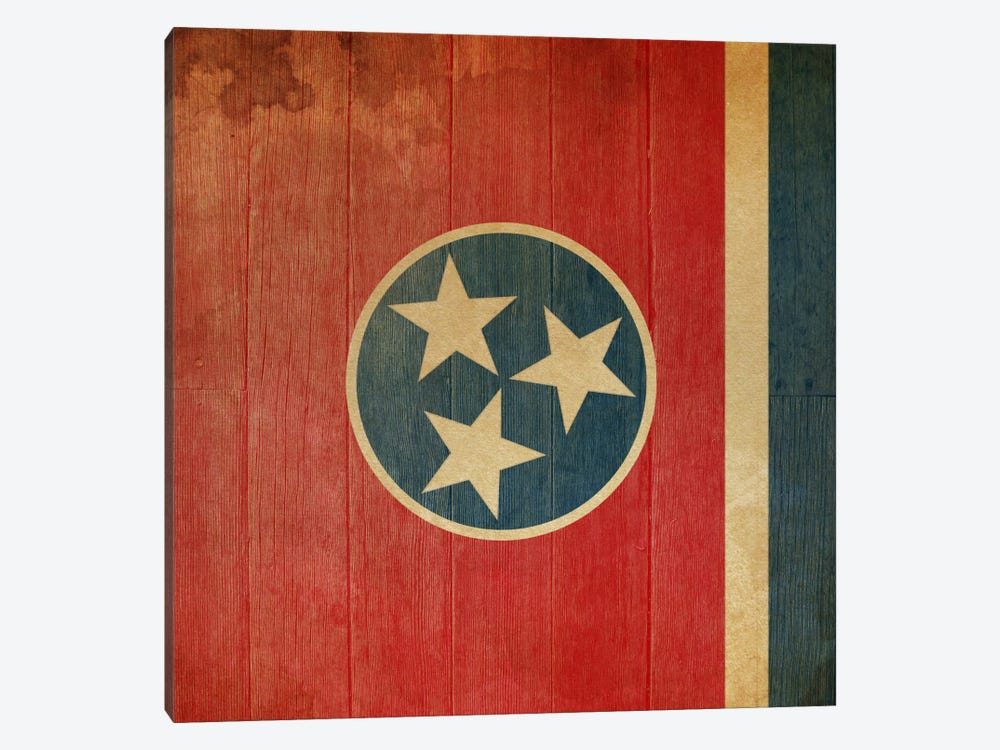 Tennessee State Flag on Wood Planks II by iCanvas 1-piece Canvas Art Print