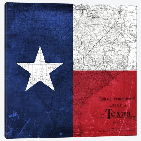 State Flag Overlay Series: Texas (Vintage Map) I Canvas Print #FLG405} by iCanvas Canvas Art Print