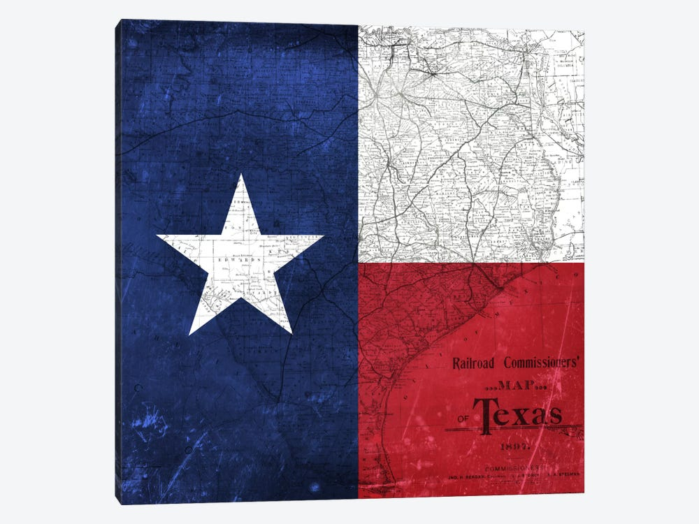 State Flag Overlay Series: Texas (Vintage Map) I by iCanvas 1-piece Canvas Art