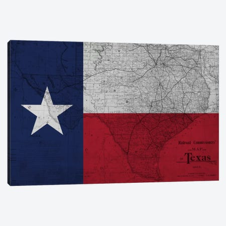 State Flag Overlay Series: Texas (Vintage Map) II Canvas Print #FLG406} by iCanvas Art Print
