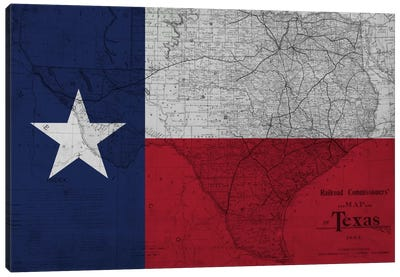 State Flag Overlay Series: Texas (Vintage Map) II Canvas Art Print