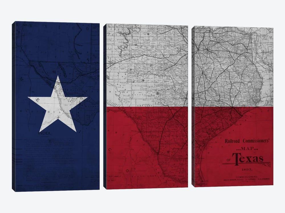 Texas (Vintage Map) II by iCanvas 3-piece Canvas Art Print