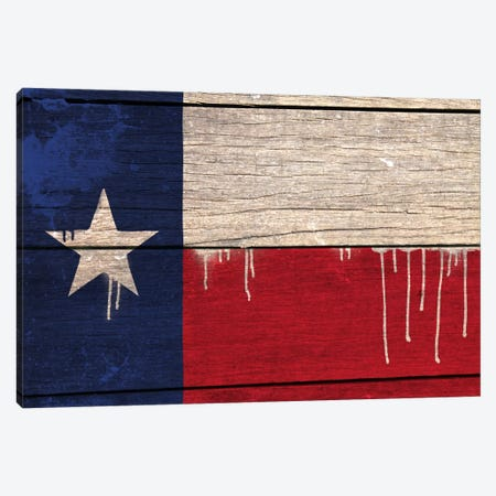 Texas Paint Drip State Flag on Wood Planks Canvas Print #FLG408} by iCanvas Canvas Art