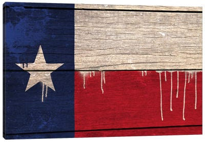 Texas Paint Drip State Flag on Wood Planks Canvas Print #FLG408