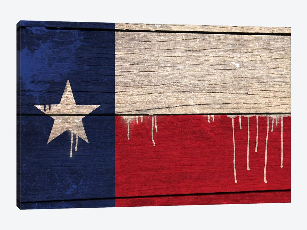 Texas Paint Drip State Flag on Wood Planks by iCanvas 1-piece Canvas Art Print