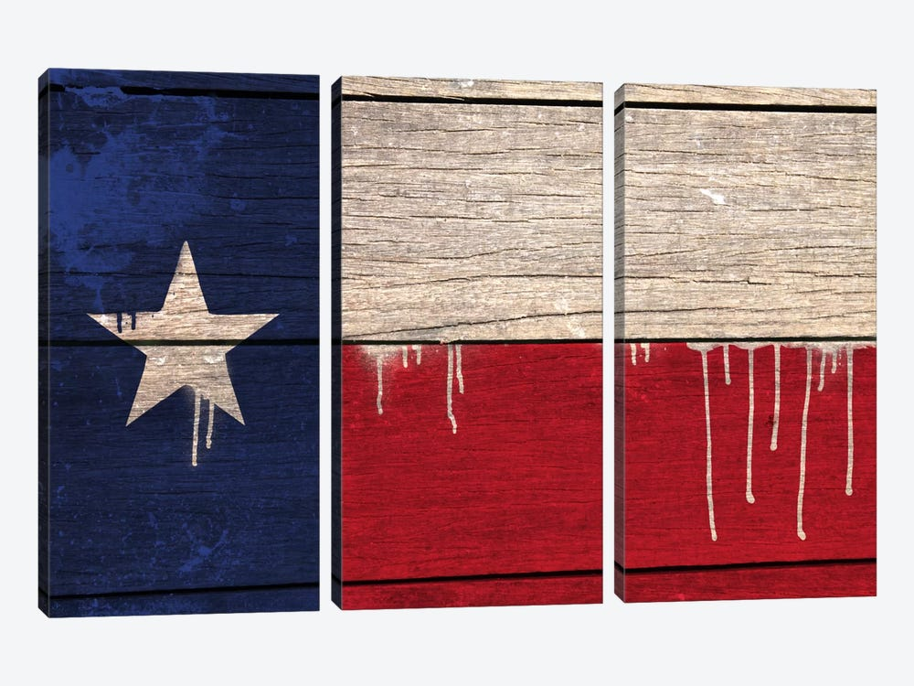Texas Paint Drip State Flag on Wood Planks by iCanvas 3-piece Art Print